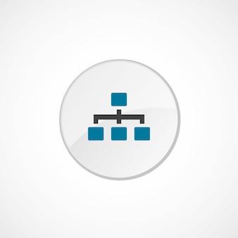 Icona della gerarchia 2 colorata, grigia e blu, badge cerchio
