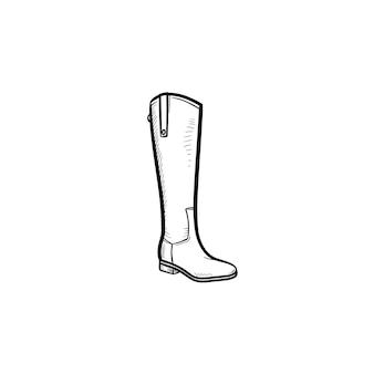 Icona di doodle di contorno disegnato a mano di stivale alto. scarpa, eleganza, moda, comfort, calzature calde, concetto invernale. illustrazione di schizzo vettoriale per stampa, web, mobile e infografica su sfondo bianco.