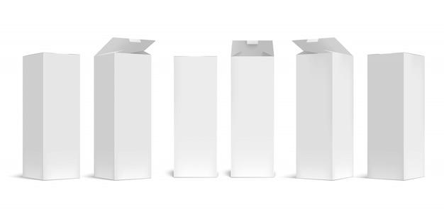Mockup scatola alta. scatole lunghe di cartone bianco aperto, confezione rettangolare con set di ombre realistiche. contenitore in bianco del cartone, imballante per il trasporto di merci isolato su fondo bianco