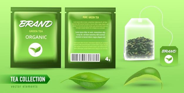 Alta illustrazione dettagliata dell'insieme degli elementi del tè su fondo verde chiaro.