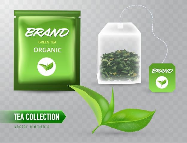 Alta illustrazione dettagliata dell'insieme degli elementi del tè su fondo trasparente.