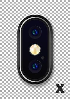 Doppia fotocamera realistica altamente dettagliata sullo smartphone. illustrazione vettoriale.