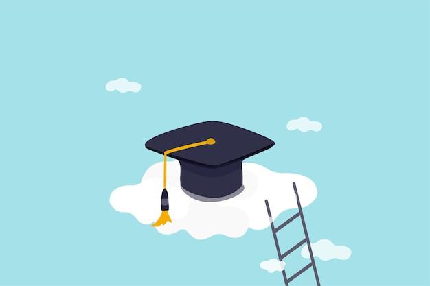 Alta istruzione, costi e spese per diplomarsi al concetto di istruzione di alto grado, tappo di laurea su nuvola alta con scala.
