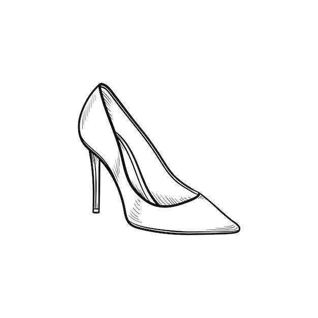 Icona di doodle di contorno disegnato a mano scarpa tacco alto. donna, signora, stile, moda, calzature, concetto di negozio. illustrazione di schizzo vettoriale per stampa, web, mobile e infografica su sfondo bianco.