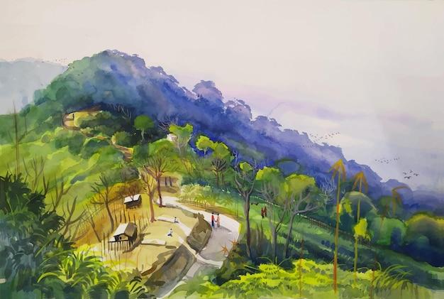 Alte colline, strade, alberi, piccole case sono un posto molto bello per gli amanti dei viaggi illustrazione di paesaggi naturali dipinti a mano