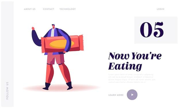 Pagina di destinazione del sito web per la produzione di snack ad alto livello di carboidrati, zucchero e glucosio.