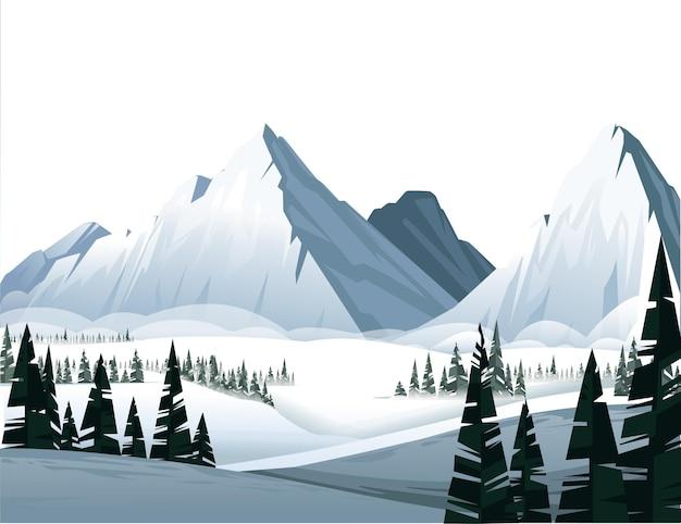 Alte montagne in inverno con foresta di conifere sempreverde illustrazione piatta paesaggio invernale