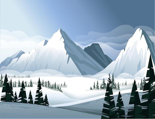 Alte montagne in inverno con foresta di conifere sempreverdi illustrazione paesaggio invernale