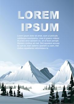 Alte montagne in inverno con illustrazione di foresta sempreverde paesaggio invernale banner verticale