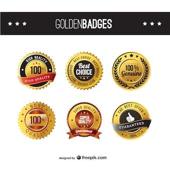 Distintivi d'oro di alta qualità Vettore Premium