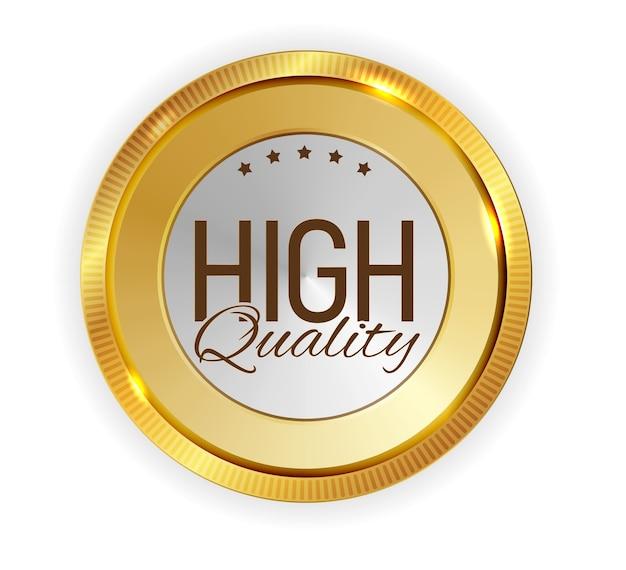 Segno di etichetta dorata di alta qualità.