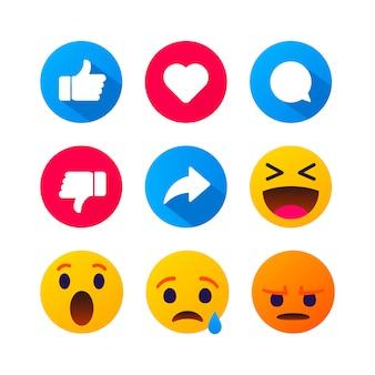 Le emoticon di bolle gialle rotonde del fumetto di alta qualità commentano i social media. reazioni di commento in chat, icona modello volto lacrima, sorriso, triste, amore, come, lol, messaggio di carattere emozione risate