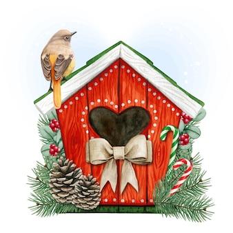 Birdhouse acquerello di alta qualità con codirosso dauriano Vettore Premium