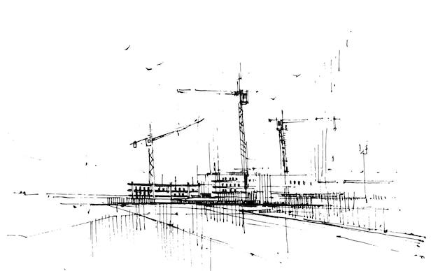 Alto edificio in costruzione disegnato a mano.
