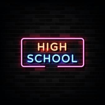 Insegne al neon della high school design template neon style