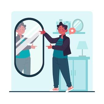 Uomo di alta autostima che guarda nello specchio