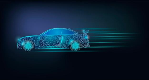 Auto ad alta velocità. modello di banner con auto grafica low poly incandescente.
