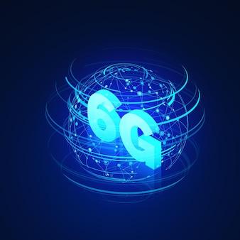 Reti mobili globali ad alta velocità. testo e ologramma di rete globale illustrazione isometrica di affari