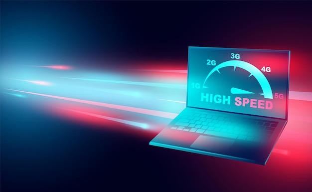 Rete di concetto di internet ad alta velocità su reti a banda larga di computer laptop velocità isometrica