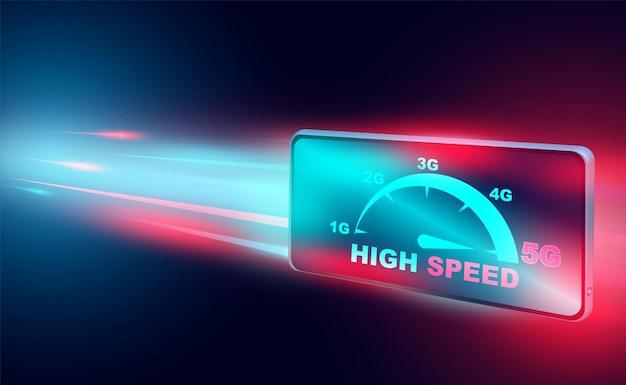 Rete di concetto di internet ad alta velocità su reti a banda larga di smartphone velocità isometrica