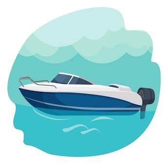 Barca a motore ad alta velocità che naviga nell'illustrazione di vettore del mare isolata sull'azzurro. barca a vela navigare in mare. viaggiando dal concetto di acqua. design realistico per yacht moderno