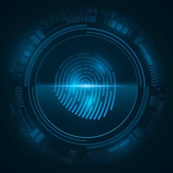 Impronta digitale ad alta tecnologia per la sicurezza del sistema informatico con elementi dell'interfaccia hud. cerca un lucchetto. cerchio cyber blu astratto.