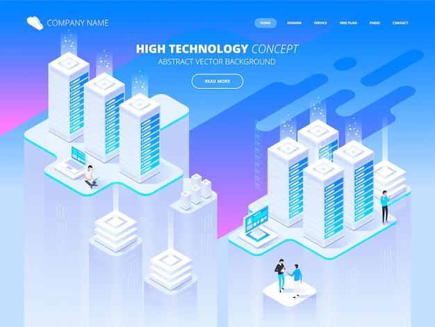 Concetto di alta tecnologia. data center, elaborazione di big data, processo di rete, routing e archiviazione dei dati. illustrazione isometrica