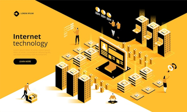 Modello di pagina di destinazione del concetto di alta tecnologia