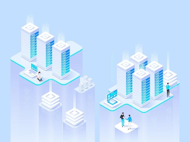 Concetto isometrico ad alta tecnologia data center, elaborazione di big data, processo di rete