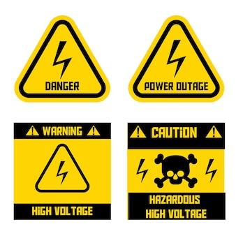Segnale ad alta tensione. segno di pericolo. interruzione di corrente. attenzione alta tensione pericolosa. illustrazione vettoriale