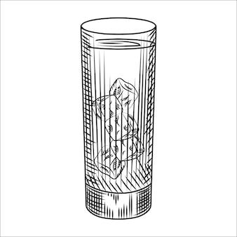 Bicchiere highball di acqua ghiacciata. bicchiere di limonata e cubetti di ghiaccio. illustrazione vettoriale di stile di incisione. per menù bar, cartoline, poster, stampe, packaging.