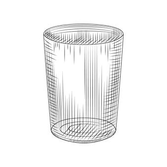 Bicchiere highball isolato su sfondo bianco. schizzo disegnato a mano di vetro di collin. incisione in stile vintage. illustrazione vettoriale.