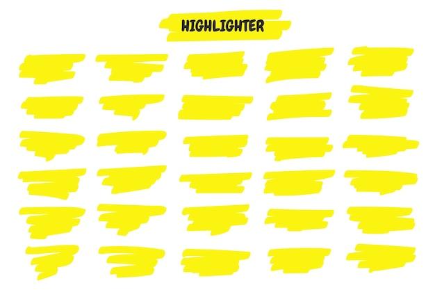 Evidenzia le linee del pennello. linea di tratto di penna evidenziatore giallo disegnata a mano per sottolineatura di parola.