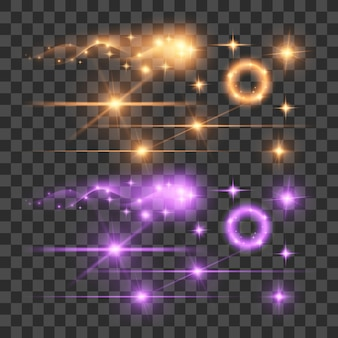 Evidenzia le luci di illuminazione a fluorescenza a fluorescenza a chiarore a lente di bagliore di fuochi d'artificio su sfondo trasparente