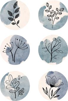 Evidenziatori con piante e fiori su blu dipinti con evidenziatori ad acquerello per i social media