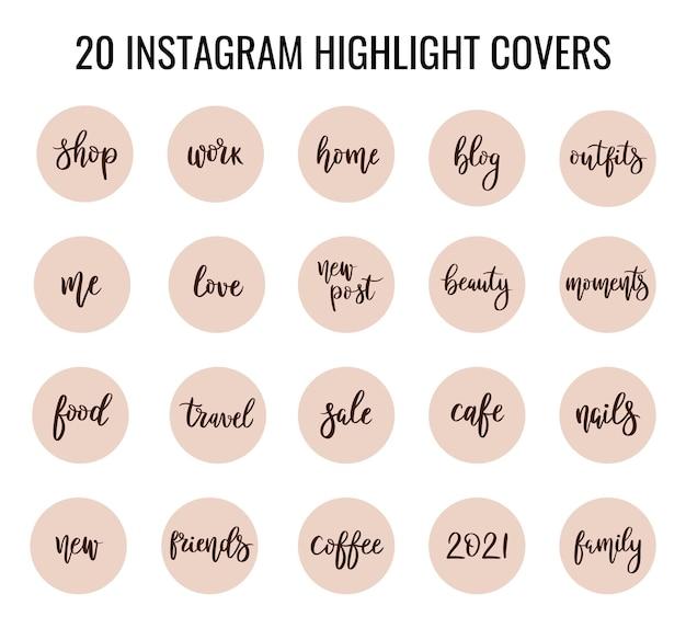 Punti salienti delle storie di copertina di instagram con iscrizioni