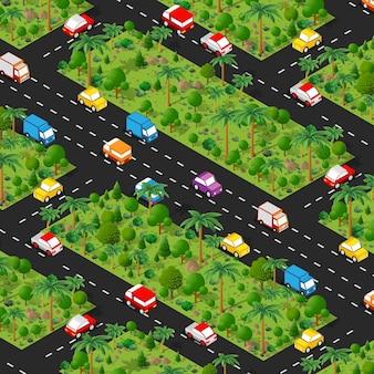 Proiezione di vista verde del paesaggio forestale isometrica del parcheggio dell'autostrada