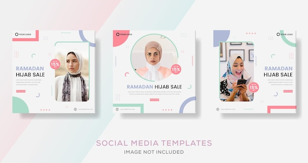 Banner di moda hijab per post modello social media ramadan kareem