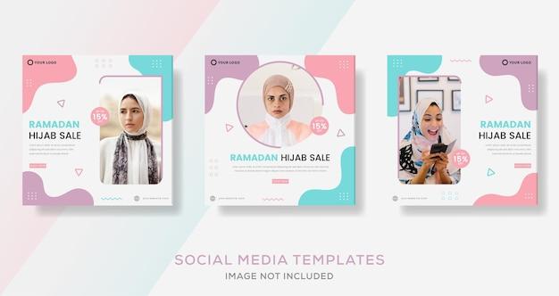 Banner di vendita di moda hijab per post modello social media ramadan kareem