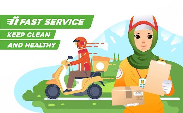 Il corriere deliverry della ragazza di hijab consegna come azienda deliverry della mascotte, inviando il pacchetto usando lo scooter con standart sano e pulito