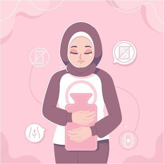 Illustrazione vettoriale del periodo mestruale della ragazza hijab