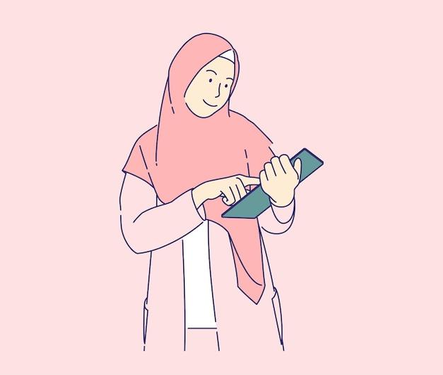 Ragazza di hijab che utilizza il concetto dell'illustrazione di vettore della compressa, donna di affari che utilizza lo stile disegnato a mano della compressa e del modulo in linea di riempimento.