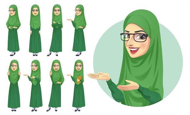 Set di caratteri della donna hijab