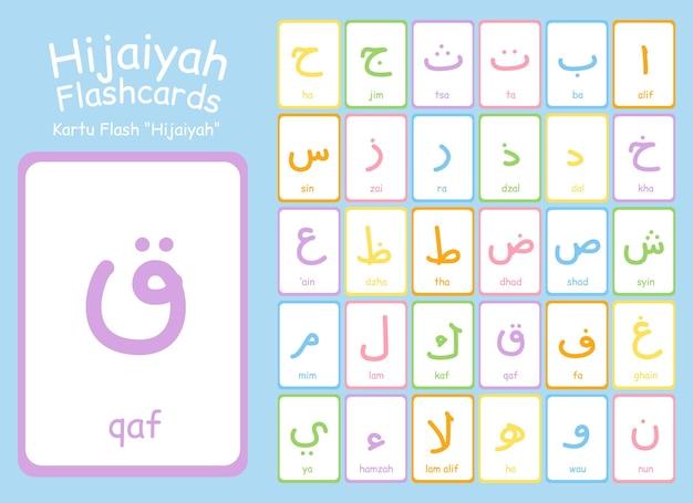 Raccolta di vettore di flashcard di vocabolario arabo hijaiyah