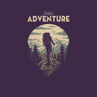 Hike adventure t shirt graphic design, stile linea disegnata a mano con colore digitale