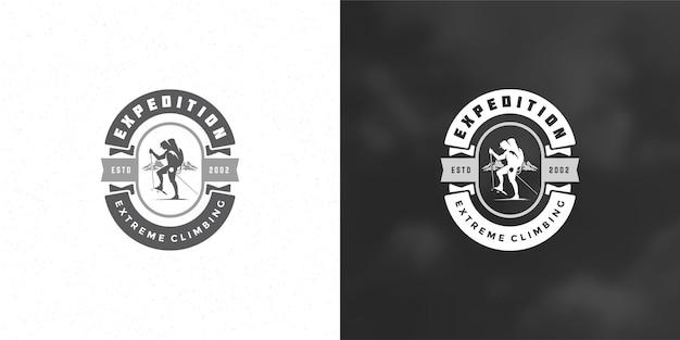 Illustrazione dell'emblema del logo di escursionista Vettore Premium