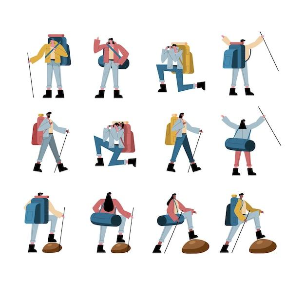 Cartoni animati di persone escursionista con raccolta di borse e bastoncini