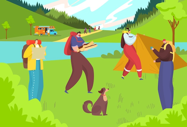 Illustrazione di avventura escursionistica