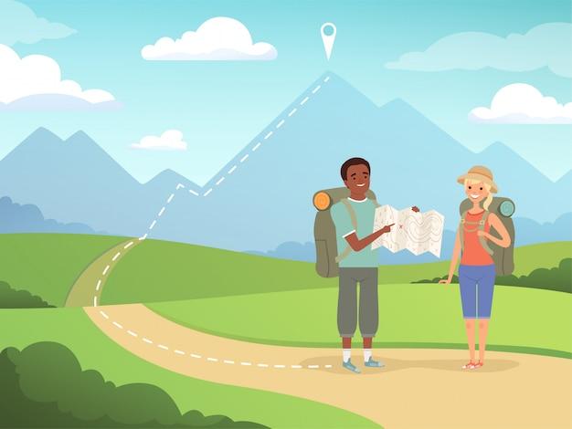 Sfondo di escursionismo. gente di viaggio che fa un'escursione le illustrazioni d'esplorazione all'aperto dei caratteri di avventura della natura