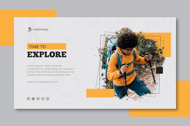 Modello di banner escursionismo Vettore Premium